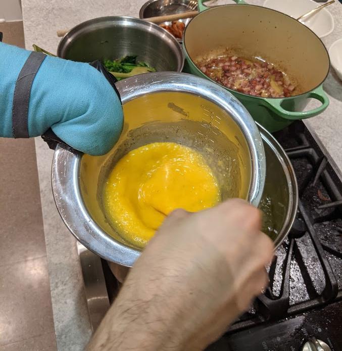 Egg emulsification via double boiler