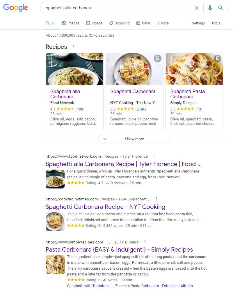 Google's terrible results for Carbonara