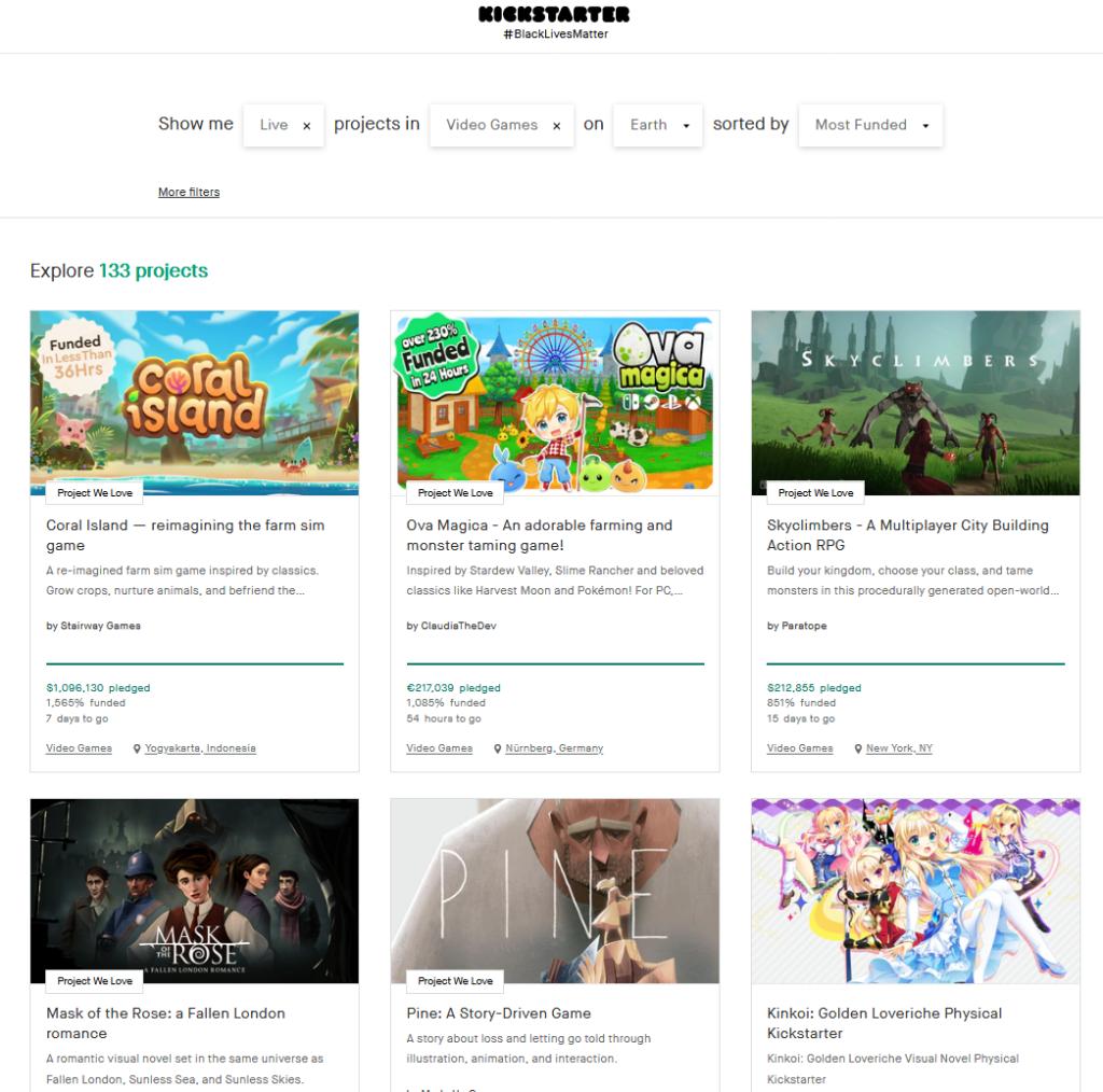Most Funded Kickstarter Games